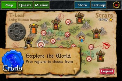 Dungeoneers Academy: Explore the World Map - Five regions to choose from.
