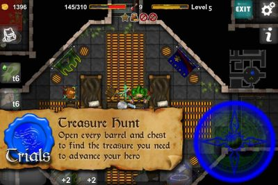 Dungeoneers Academy: Treasure Hunt - Open every barrel and chest to find the treasure you need to advance your hero.