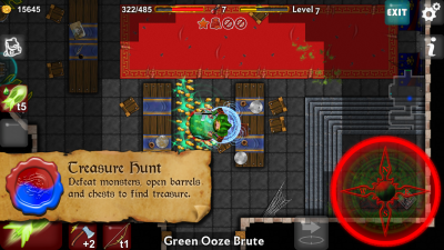Dungeoneers Academy v4.0: Defeat monsters, open barrel and chest to find treasure.